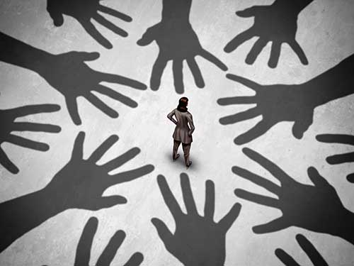 graphic of several hand shadows and a woman standing in the middle